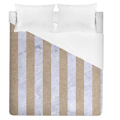 Stripes1 White Marble & Sand Duvet Cover (queen Size) by trendistuff