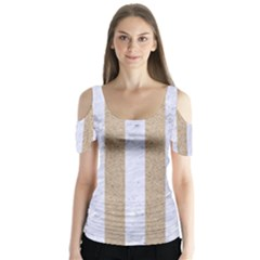 Stripes1 White Marble & Sand Butterfly Sleeve Cutout Tee  by trendistuff