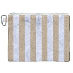 Stripes1 White Marble & Sand Canvas Cosmetic Bag (xxl) by trendistuff