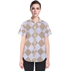 Square2 White Marble & Sand Women s Short Sleeve Shirt