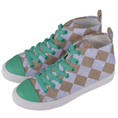 Square2 White Marble & Sand Women s Mid Top Canvas Sneakers by trendistuff