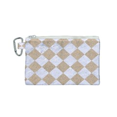 Square2 White Marble & Sand Canvas Cosmetic Bag (small) by trendistuff
