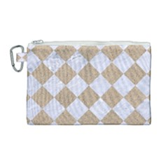 Square2 White Marble & Sand Canvas Cosmetic Bag (large) by trendistuff