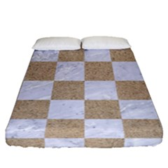 Square1 White Marble & Sand Fitted Sheet (queen Size) by trendistuff
