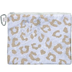 Skin5 White Marble & Sand Canvas Cosmetic Bag (xxxl) by trendistuff