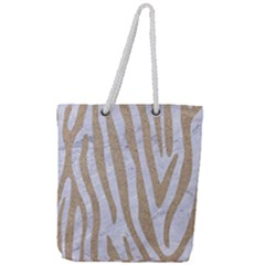 Skin4 White Marble & Sand Full Print Rope Handle Tote (large) by trendistuff