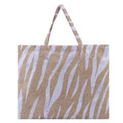 Skin3 White Marble & Sand Zipper Large Tote Bag by trendistuff