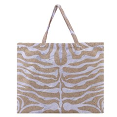 Skin2 White Marble & Sand Zipper Large Tote Bag by trendistuff