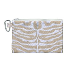 Skin2 White Marble & Sand Canvas Cosmetic Bag (medium) by trendistuff