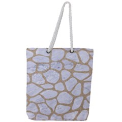 Skin1 White Marble & Sand Full Print Rope Handle Tote (large) by trendistuff