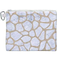 Skin1 White Marble & Sand Canvas Cosmetic Bag (xxxl) by trendistuff
