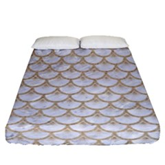 Scales3 White Marble & Sand (r) Fitted Sheet (queen Size) by trendistuff