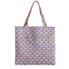 Scales3 White Marble & Sand (r) Zipper Grocery Tote Bag by trendistuff