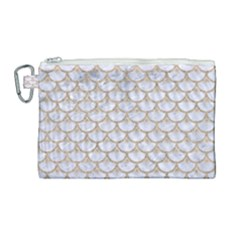 Scales3 White Marble & Sand (r) Canvas Cosmetic Bag (large) by trendistuff