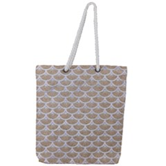 Scales3 White Marble & Sand Full Print Rope Handle Tote (large) by trendistuff