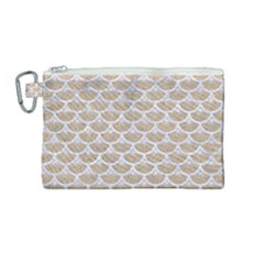 Scales3 White Marble & Sand Canvas Cosmetic Bag (medium) by trendistuff