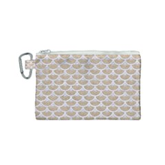 Scales3 White Marble & Sand Canvas Cosmetic Bag (small) by trendistuff