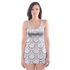 Scales2 White Marble & Sand (r) Skater Dress Swimsuit