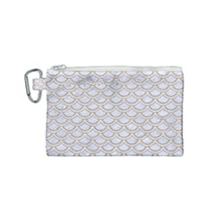 Scales2 White Marble & Sand (r) Canvas Cosmetic Bag (small) by trendistuff