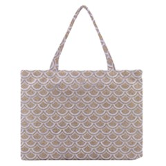Scales2 White Marble & Sand Zipper Medium Tote Bag by trendistuff