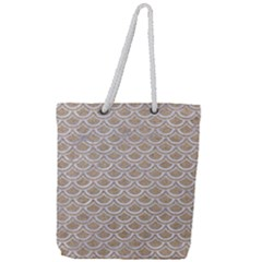 Scales2 White Marble & Sand Full Print Rope Handle Tote (large) by trendistuff