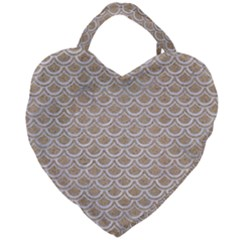 Scales2 White Marble & Sand Giant Heart Shaped Tote by trendistuff