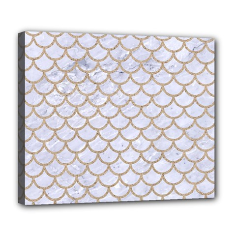 Scales1 White Marble & Sand (r) Deluxe Canvas 24  X 20   by trendistuff