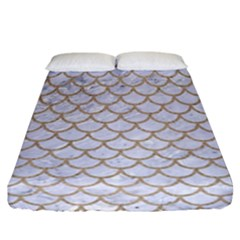 Scales1 White Marble & Sand (r) Fitted Sheet (california King Size) by trendistuff