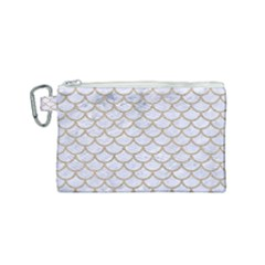 Scales1 White Marble & Sand (r) Canvas Cosmetic Bag (small) by trendistuff