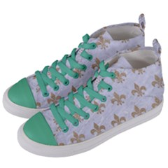 Royal1 White Marble & Sand Women s Mid Top Canvas Sneakers by trendistuff