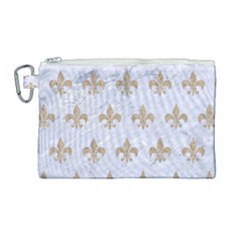 Royal1 White Marble & Sand Canvas Cosmetic Bag (large) by trendistuff