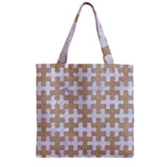 Puzzle1 White Marble & Sand Zipper Grocery Tote Bag by trendistuff