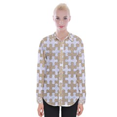 Puzzle1 White Marble & Sand Womens Long Sleeve Shirt by trendistuff