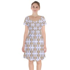 Puzzle1 White Marble & Sand Short Sleeve Bardot Dress by trendistuff