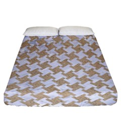 Houndstooth2 White Marble & Sand Fitted Sheet (california King Size) by trendistuff