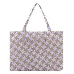 Houndstooth2 White Marble & Sand Medium Tote Bag by trendistuff
