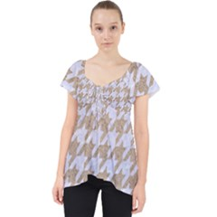 Houndstooth1 White Marble & Sand Lace Front Dolly Top