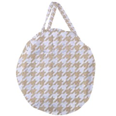 Houndstooth1 White Marble & Sand Giant Round Zipper Tote by trendistuff