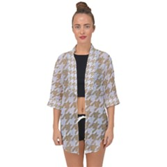 Houndstooth1 White Marble & Sand Open Front Chiffon Kimono by trendistuff