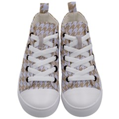 Houndstooth1 White Marble & Sand Kid s Mid Top Canvas Sneakers