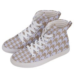 Houndstooth1 White Marble & Sand Women s Hi Top Skate Sneakers by trendistuff