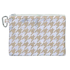 Houndstooth1 White Marble & Sand Canvas Cosmetic Bag (xl) by trendistuff