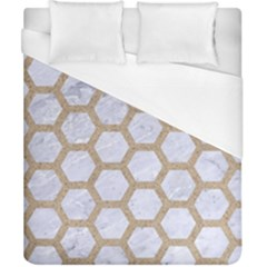 Hexagon2 White Marble & Sand (r) Duvet Cover (california King Size) by trendistuff