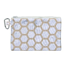 Hexagon2 White Marble & Sand (r) Canvas Cosmetic Bag (large) by trendistuff