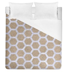 Hexagon2 White Marble & Sand Duvet Cover (queen Size) by trendistuff