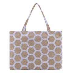 Hexagon2 White Marble & Sand Medium Tote Bag by trendistuff