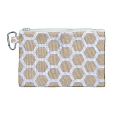 Hexagon2 White Marble & Sand Canvas Cosmetic Bag (large) by trendistuff