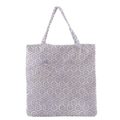 Hexagon1 White Marble & Sand (r) Grocery Tote Bag by trendistuff