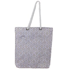 Hexagon1 White Marble & Sand (r) Full Print Rope Handle Tote (large) by trendistuff