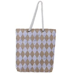 Diamond1 White Marble & Sand Full Print Rope Handle Tote (large) by trendistuff